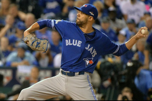 Former Toronto Blue Jays starting pitcher David Price throws against the Kansas City Royals during the first inning in the ALCS game 6 at Kaufman Stadium in Kansas City on October 23, 2015. Photo by Kevin Dietsch/UPI