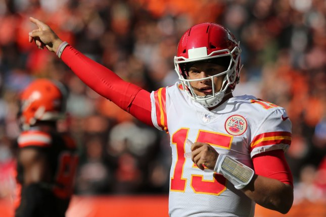 Kansas City Chiefs quarterback Patrick Mahomes points during a game against the Cleveland Browns at First Energy Stadium on November 4, 2018. Photo by Aaron Josefczyk/UPI