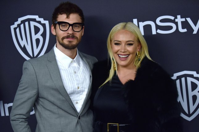 Hilary Duff (R), pictured with Matthew Koma, said welcoming Luca, her son with Mike Comrie, was a natural but scary experience. File Photo by Christine Chew/UPI
