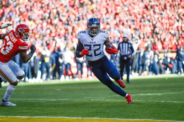 Tennessee Titans running back Derrick Henry won the NFL rushing title with 1,540 yards last season. File Photo by Jason Hanna/UPI