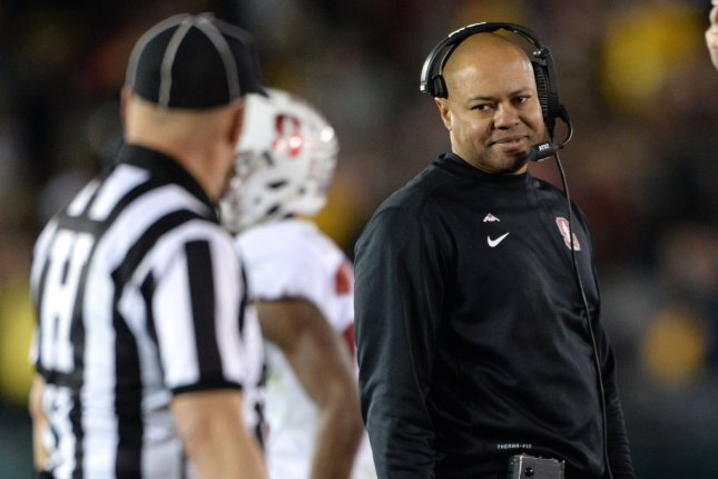 Stanford coach David Shaw and the Cardinal football team face UCLA in their final game of the season on Saturday after the program announced it will decline bowl game invitations due to COVID-19. File Photo by Jon SooHoo/UPI
