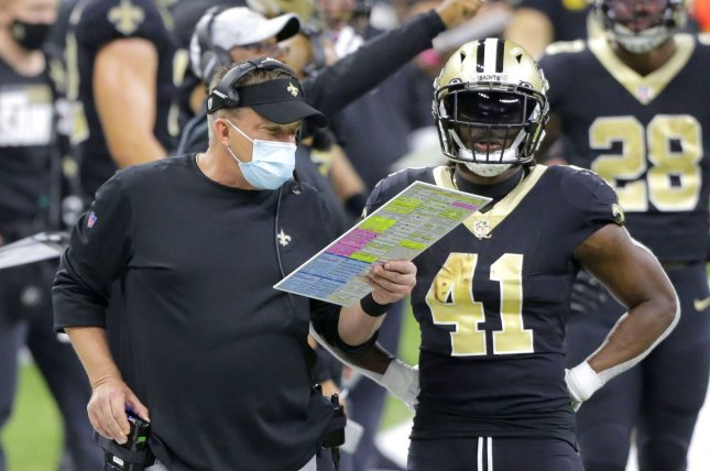 New Orleans Saints running back Alvin Kamara (41) ranks third in the league with 1,688 yards from scrimmage this season. File Photo by AJ Sisco/UPI