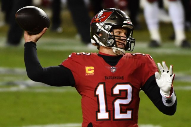 Tampa Bay Buccaneers quarterback Tom Brady says he will consider playing beyond age 45. File Photo by Kevin Dietsch/UPI