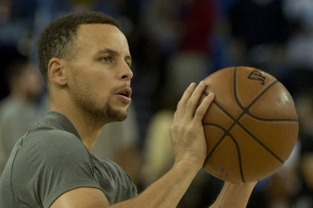 Golden State Warriors star Stephen Curry is unlikely to play Game 3 vs. the Portland Trail Blazers. Photo by Terry Schmitt/UPI