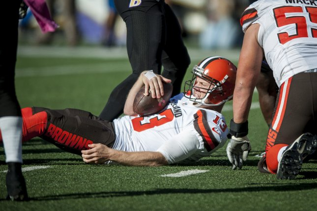 Cleveland Browns' quarterback, Josh McCown, is tackled during fourth quarter action against the Baltimore Ravens on October 11, 2015 in Baltimore, Maryland. Cleveland won the game 33-30 with McCown passing for a franchise record 457 yards. Photo by Pete Marovich/UPI