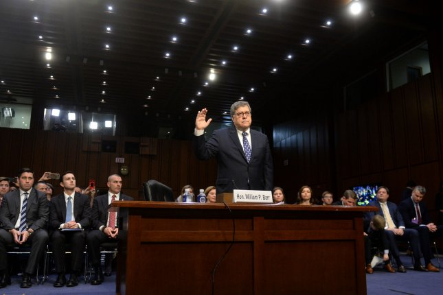 Attorney General nominee William Barr is sworn-in Tuesday as he prepares testify in front of the Senate judiciary committee on Capitol Hill. Photo by Kevin Dietsch/UPI