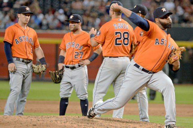 Houston Astros pitcher Francis Martes (R) had three starts last season in Minor League Baseball. File Photo by Art Foxall/UPI