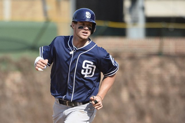 San Diego Padres outfielder Wil Myers had three hits and five RBIs in a win over the Pittsburgh Pirates on Monday in Pittsburgh. File Photo by Brian Kersey/UPI