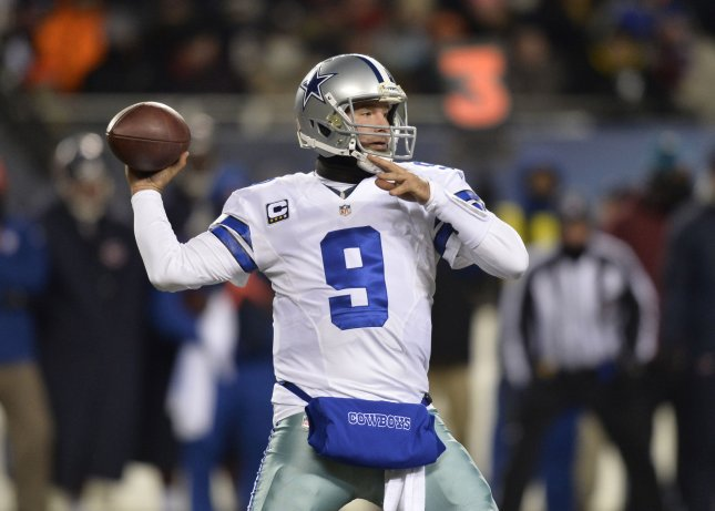 Dallas Cowboys quarterback Tony Romo, shown during a Dec. 9 game, has a back injury that will keep him out of action the rest of the season. The Cowboys must win their game Sunday to advance to the playoffs. UPI/Brian Kersey