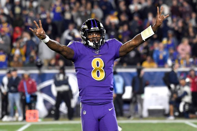 Baltimore Ravens quarterback Lamar Jackson needs 63 rushing yards to pass former Atlanta Falcons scrambler Michael Vick, who ran for a record 1,039 yards in 2006. File Photo by Jon SooHoo/UPI