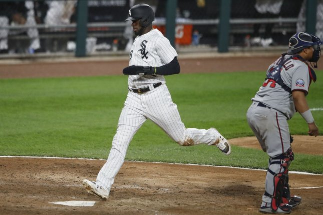 Chicago White Sox center fielder Luis Robert (88), shown Sept. 14, 2020, suffered the injury during Sunday's loss to the Cleveland Indians. File Photo by Kamil Krzaczynski/UPI