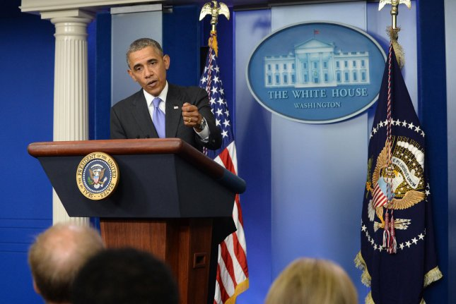President Barack Obama makes a comment at a quickly-called press conference regarding issues with the Veterans Administration (VA) in the Brady Press Room at the White House in Washington, DC on May 21, 2014. UPI/Pat Benic