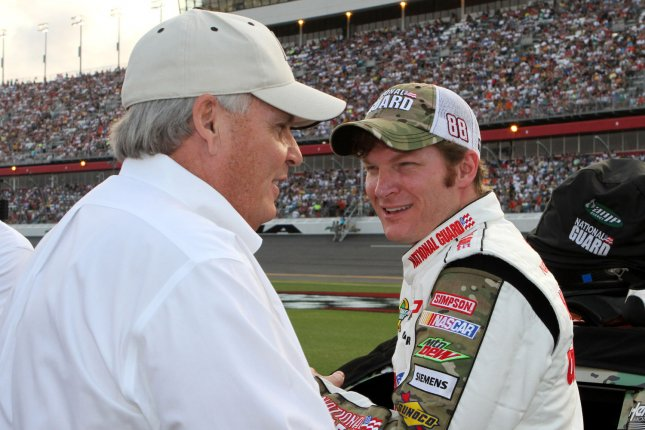 Rick Hendrick (L) and Dale Earnhardt Jr (R). UPI Photo/Martin Fried