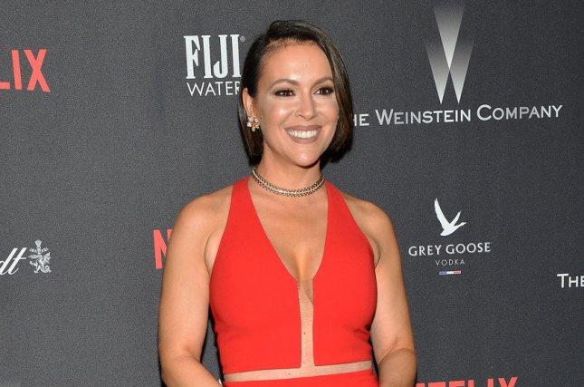 Alyssa Milano attends The Weinstein Co. and Netflix Golden Globes after-party on January 8. File Photo by Christine Chew/UPI