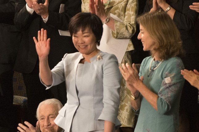 Japanese first lady Akie Abe (L) is in the spotlight after evidence was found indicating manipulation of documents for an under-the-table land sale for Abe's associate Yasunori Kaogike. File Photo by Pat Benic/UPI