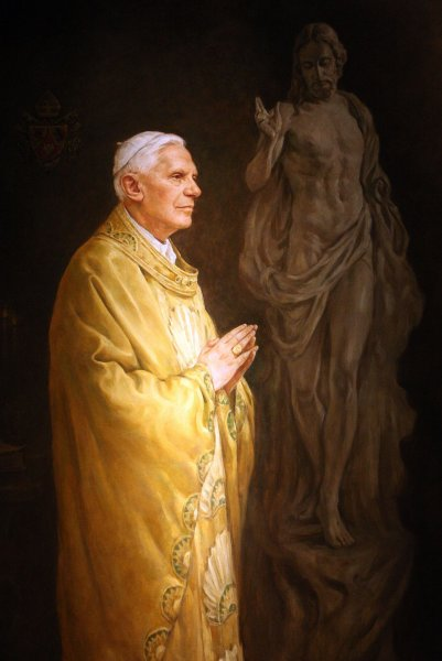 A oil painting of Pope Benedict XVI hangs as final preparations are made for the opening of Vatican Splendors, at the Missouri History Museum in St. Louis on May 14, 2010. UPI/Bill Greenblatt