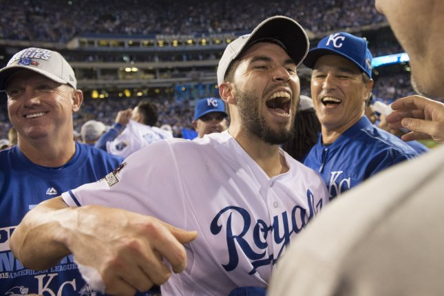 Kansas City Royals' first baseman Eric Hosmer celebrates after the Royals won the American Leave Championship Series after defeating the Toronto Blue Jays 4-3 in game 6 at Kaufman Stadium in Kansas City on October 23, 2015. Hosmer drove home the game winning run. Photo by Kevin Dietsch/UPI