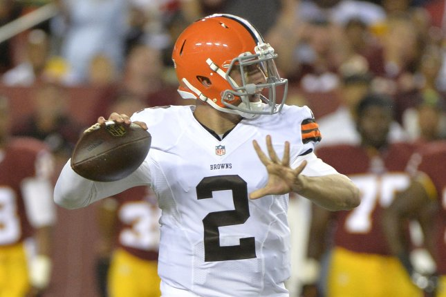 Cleveland Browns quarterback Johnny Manziel (2) looks to pass against the Washington Redskins during the second quarter of their preseason game at FedEx Field on August 18, 2014 in Washington, D.C. UPI/Kevin Dietsch
