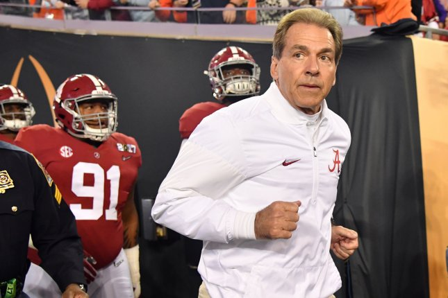 Alabama Crimson Tide head coach Nick Saban takes the field before the game against the Clemson Tigers in the 2017 College Football Playoff National Championship in Tampa, Florida on January 9, 2017. File photo by Kevin Dietsch/UPI
