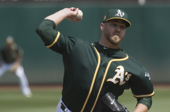 Former Oakland A's pitcher Shawn Kelley agreed to a deal with the Texas Rangers on Monday. File photo by Terry Schmitt/UPI