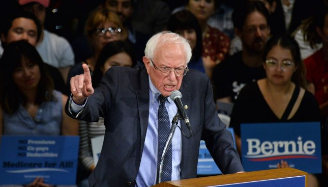 Bernie Sanders released a plan Monday to increase taxes on companies that pay their executives much more than other employees. File Photo by Jim Ruymen/UPI