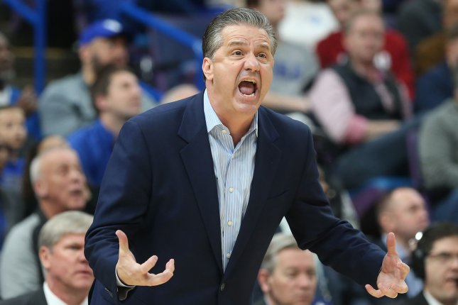 Kentucky basketball coach John Calipari said he didn't start Tyrese Maxey against Michigan State because he wanted him to watch from the bench before he came in firing. File Photo by BIll Greenblatt/UPI