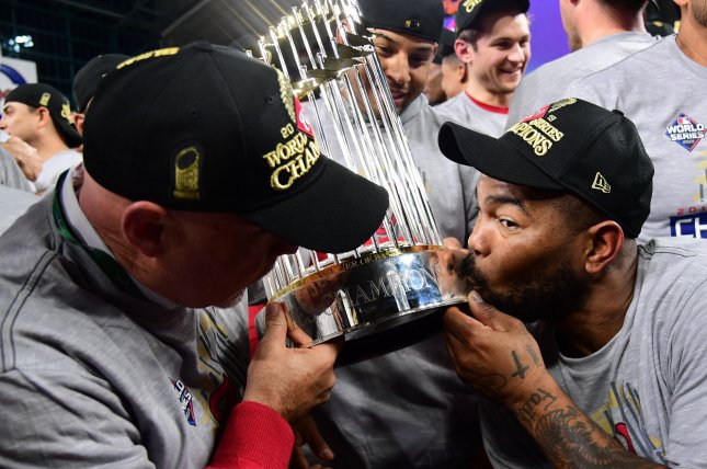 The Washington Nationals won the World Series in October, but only have the ninth-best odds of winning again in 2020, according to Caesars. File Photo by Kevin Dietsch/UPI