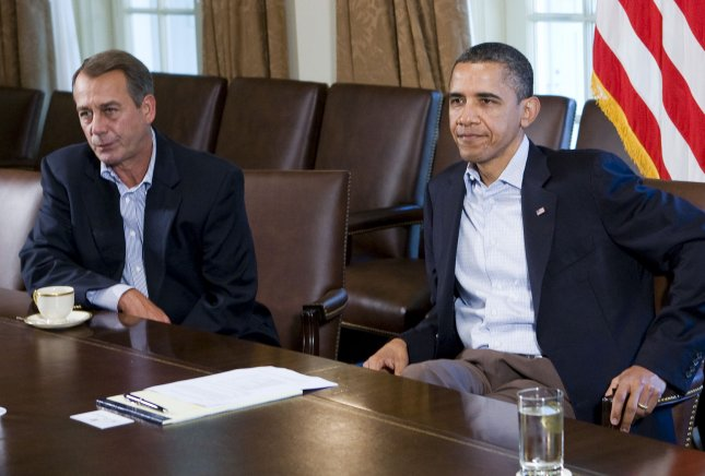 President Barack Obama meets with Speaker of the House John Boehner (L) and other congressional leaders in the Cabinet Room of the White House on July 23, 2011. The negotiations to raise the national debt ceiling collapsed yesterday after Speaker Boehner walked out of the talks. UPI/Kristoffer Tripplaar/Pool