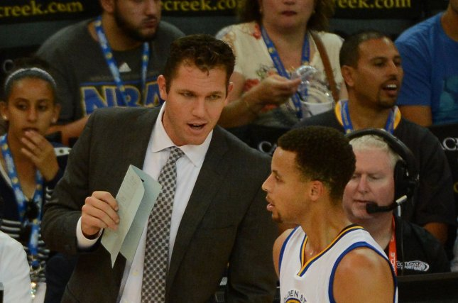 Los Angeles Lakers coach Luke Walton is looking forward to the challenge ahead of him after coming over from the Golden State Warriors. Photo by Terry Schmitt/UPI