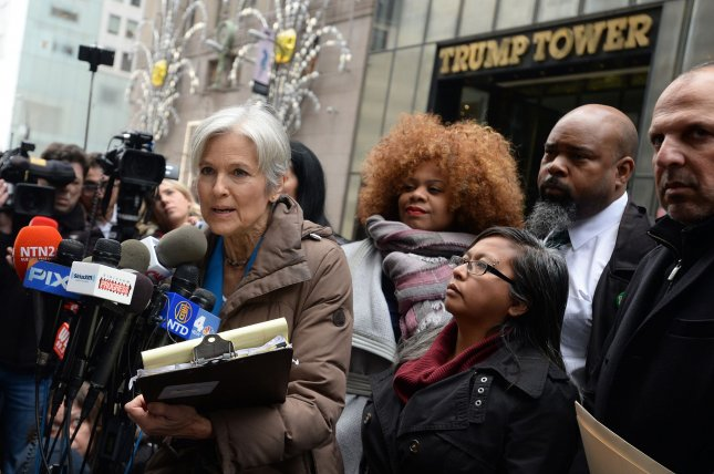Green Party presidential candidate Jill Stein speaks on the recount efforts outside Trump Tower in Manhattan on December 5, vowing to fight tooth and nail to verify the accuracy, security, and fairness of the vote. Federal judges have struck down her recount requests in Pennsylvania and Michigan. A recount is underway in Wisconsin. Photo by Dennis Van Tine/UPI