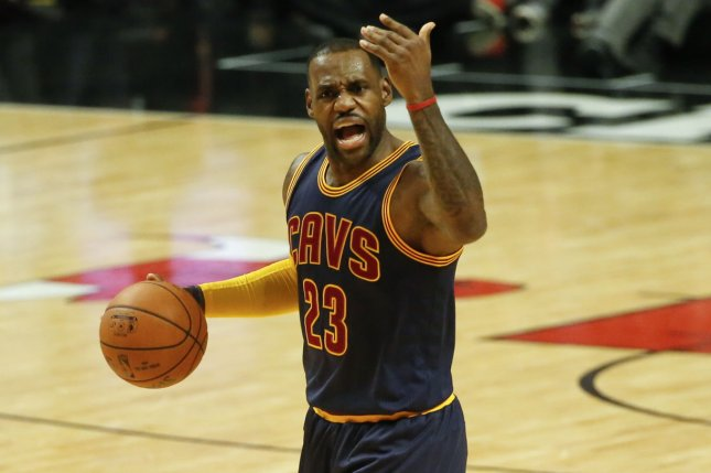 LeBron James narrowly missed a triple-double with 32 points, 11 assists and nine rebounds, as the Cleveland Cavaliers scored a 112-105 victory over the Charlotte Hornets at the Spectrum Center. File Photo by Kamil Krzaczynski/UPI