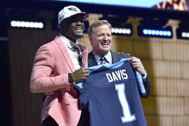 Corey Davis poses for photographs with NFL Commissioner Roger Goodell after being selected by the Tennessee Titans as the fifth overall pick in the 2017 NFL Draft at the NFL Draft Theater in Philadelphia, PA on April 27, 2017. File photo by Derik Hamilton/UPI