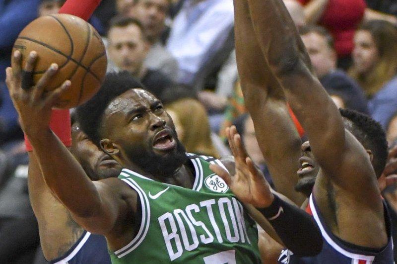 Jaylen Brown and the Boston Celtics face the Portland Trail Blazers on Sunday. Photo by Mark Goldman/UPI