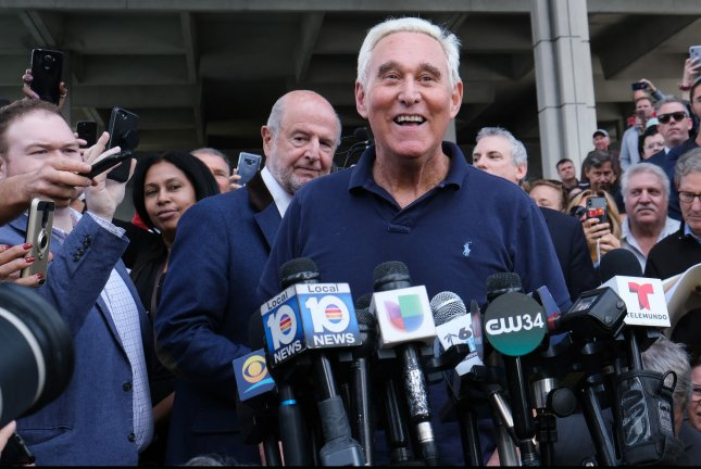 Roger Stone speaks to reporters in Fort Lauderdale, Fla., after his arrest on January 25. Photo by Gary I Rothstein/UPI