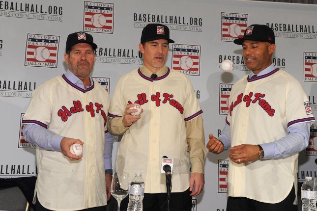 Edgar Martinez (L), Mike Mussina and Mariano Rivera will be inducted into the National Baseball Hall of Fame on Sunday. File Photo by George Napolitano/UPI