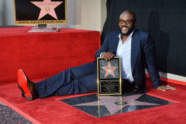 Tyler Perry enjoys his star on the Hollywood Walk of Fame. Photo by Jim Ruymen/UPI