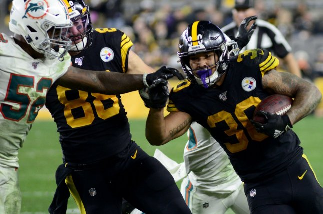 Pittsburgh Steelers running back James Conner (30) has missed four of the team's last five games. File Photo by Archie Carpenter/UPI