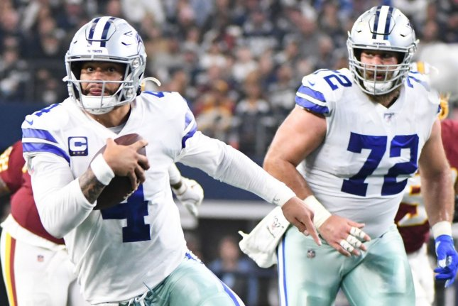 Dallas Cowboys quarterback Dak Prescott (4) sustained a broken ankle during a win over the New York Giants on Sunday in Arlington, Texas. File Photo by Ian Halperin/UPI
