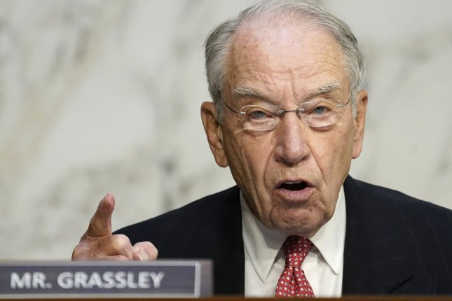 Sen. Chuck Grassley, R-Iowa, shown speaking at the Senate Judiciary Committee on October 14, returned to his Washington office Monday after being quarantined for the coronavirus. File Photo by Drew Angerer/UPI