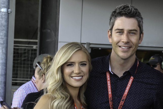 Arie Luyendyk, Jr. (R) and Lauren Burnham took to Instagram after welcoming twins, a son and daughter. File Photo by Mike Gentry/UPI
