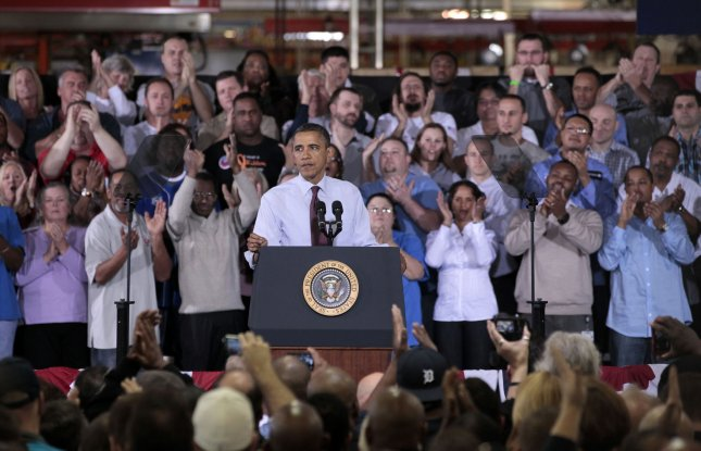 President Barack Obama last week tried a campaign-style event at the Daimler Detroit Diesel plant in Redford, Mich., to try to push a solution to the looming fiscal cliff. UPI/Jeff Kowalsky