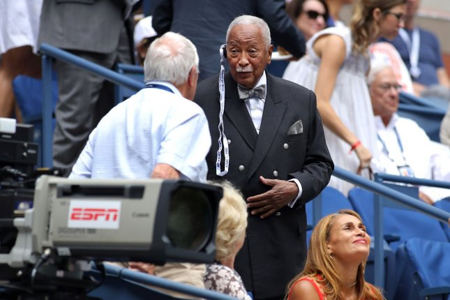 Former New York City Mayor David Dinkins attends the match Saturday between Paolo Lorenzi of Italy and Andy Murray of the United Kingdom at the US Open Tennis Championships at the USTA Billie Jean King National Tennis Center in New York City. Earlier he issued a statement after a lawsuit was filed accusing him of hitting a bicyclist and leaving the scene of the accident. Photo by Monika Graff/UPI