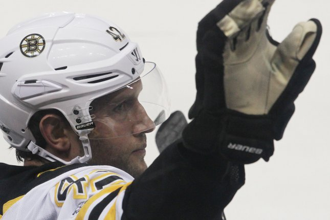 Boston Bruins' David Backes returned in the second to score the game-winning goal as the Bruins beat the Calgary Flames 5-2 on Wednesday at the Scotiabank Saddledome. File Photo by Bill Greenblatt/UPI