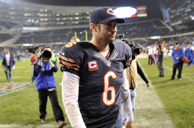 Former Chicago Bears quarterback Jay Cutler walks off the field after a game against the Detroit Lions at Soldier Field. File photo by Brian Kersey/UPI