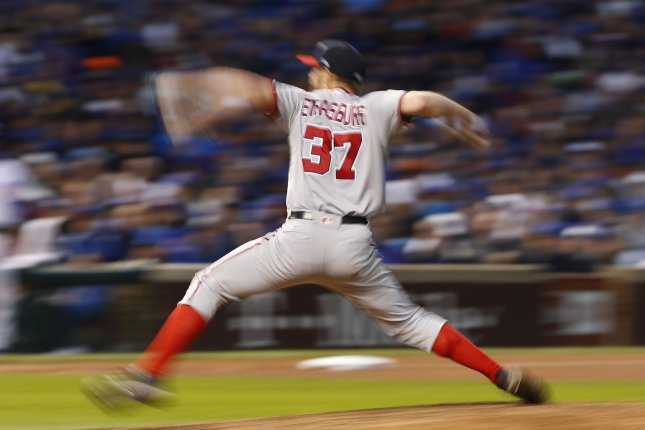 Washington Nationals starting pitcher Stephen Strasburg is a blur of motion as he delivers to the Chicago Cubs during the sixth inning of the NLDS game 4 at Wrigley Field on October 11, 2017, in Chicago. Photo by Kamil Krzaczynski/UPI