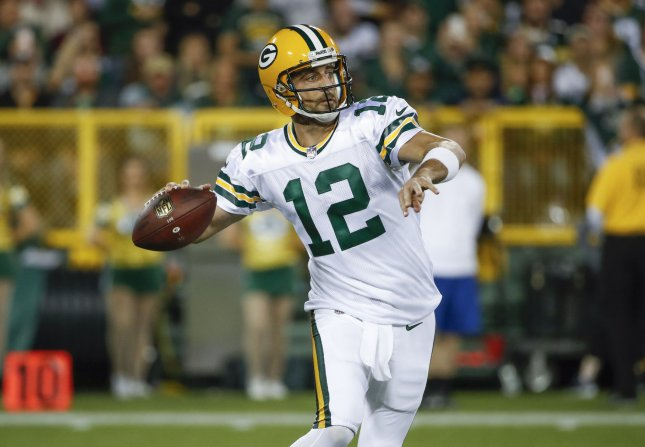 Aaron Rodgers and the Green Bay Packers face the Carolina Panthers on Sunday. Photo by Kamil Krzaczynski/UPI