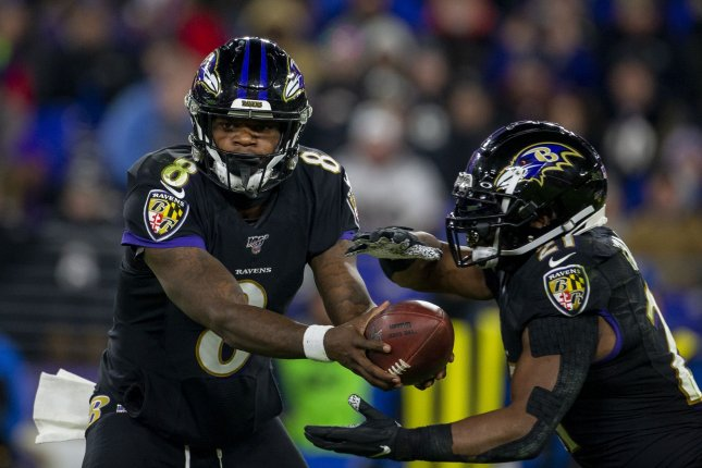 Baltimore Ravens quarterback Lamar Jackson (8) has guided the team to a 13-2 record this season. The Ravens already clinched the No. 1 seed in the AFC. Photo by Tasos Katopodis/UPI