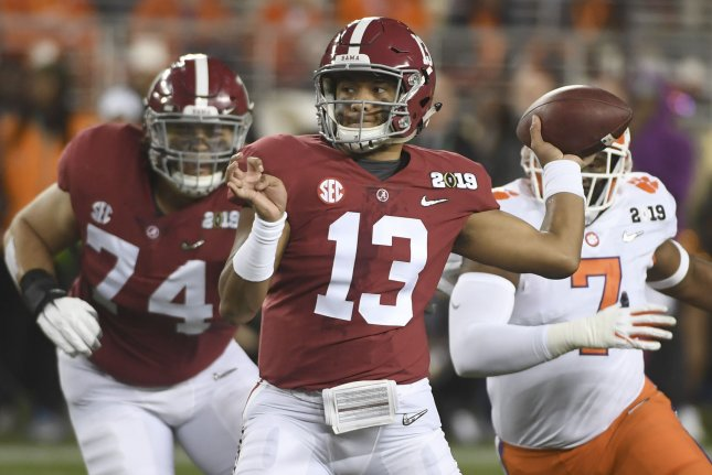 Former Alabama Crimson Tide quarterback Tua Tagovailoa (13) will not participate in drills at the 2020 NFL Scouting Combine, as he recovers from a hip injury. File Photo by Terry Schmitt/UPI