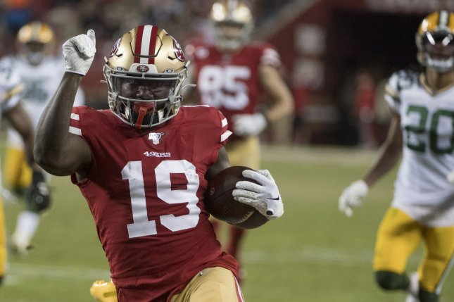 San Francisco 49ers wide receiver Deebo Samuel suffered a Jones fracture in his left foot during a throwing session earlier this week in Nashville, Tenn. File Photo by Terry Schmitt/UPI