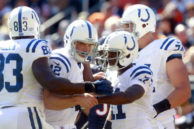 Indianapolis Colts offensive lineman Anthony Castonzo (74) missed four games this season because of knee and ankle injuries. File Photo by Mark Cowan/UPI